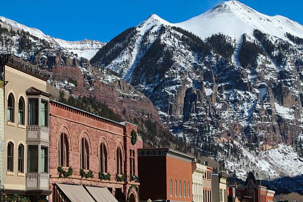 Downtown buildings at Telluride in Colorado with huge peak