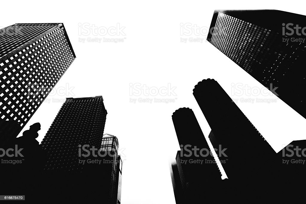 Downtown buildings in Chicago. stock photo