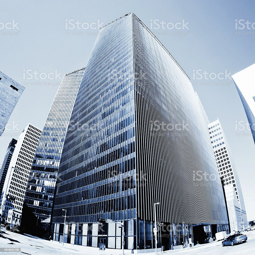 Downtown Business Skyscraper Blue Toned royalty-free stock photo
