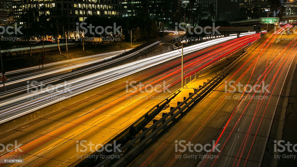 downtown by night, fire on the road stock photo