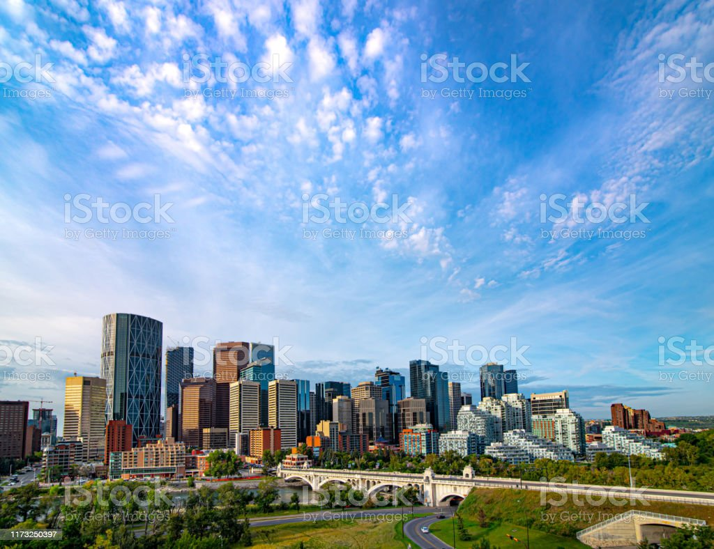 Downtown Calgary 2019 View from the northeast of the Bow River Valley in downtown Calgary Alberta Stock Photo