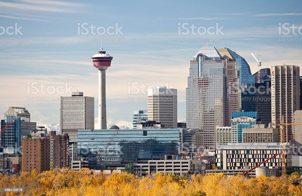 Downtown Calgary Alberta in Fall stock photo