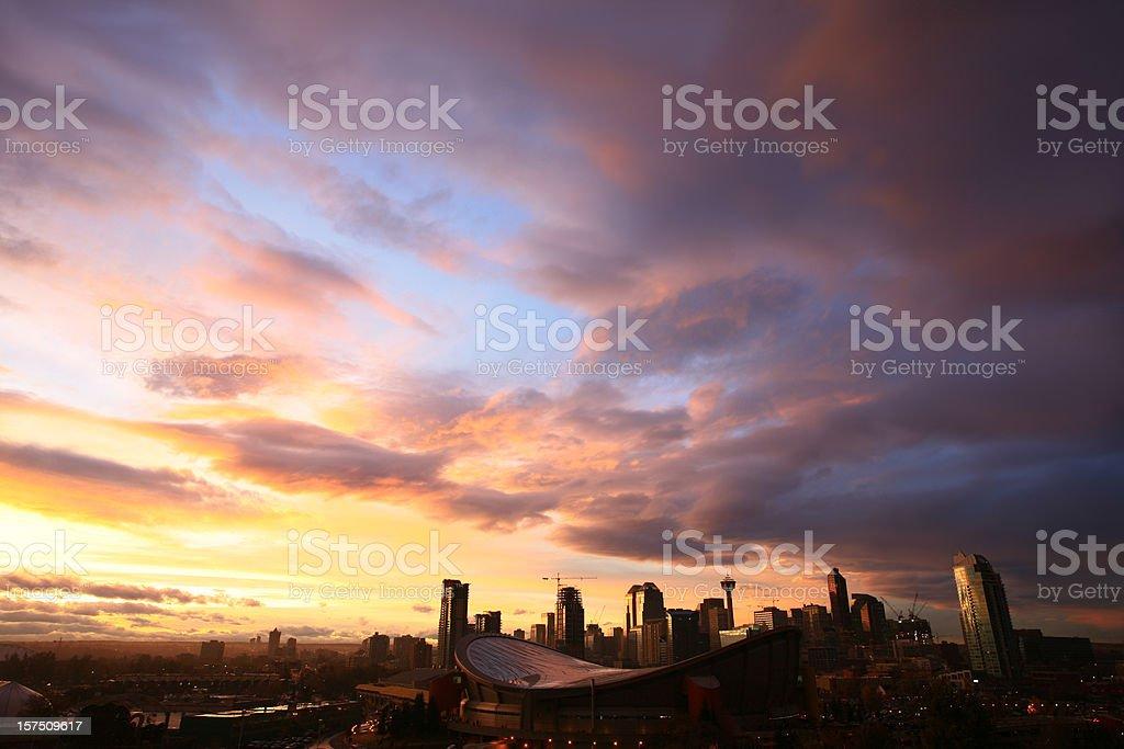 Downtown Calgary at Sunset stock photo