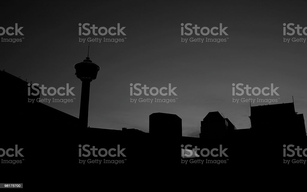 Downtown Calgary in silhouette royalty-free stock photo