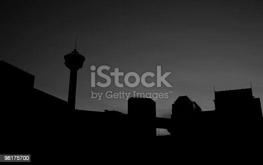 Downtown Calgary In Silhouette Stock Photo & More Pictures of Alberta