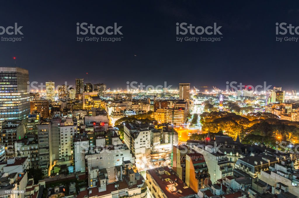 Downtown central area of Buenos Aires, Argentina, cityscape panoramic photo at night stock photo