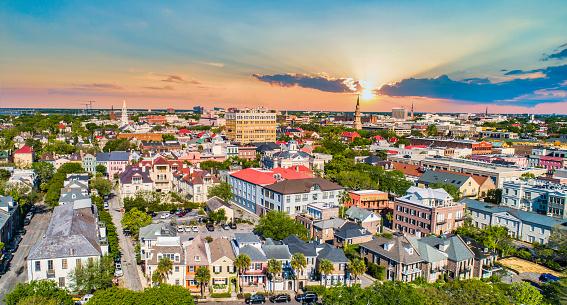 Downtown Charleston South Carolina Skyline Aerial.