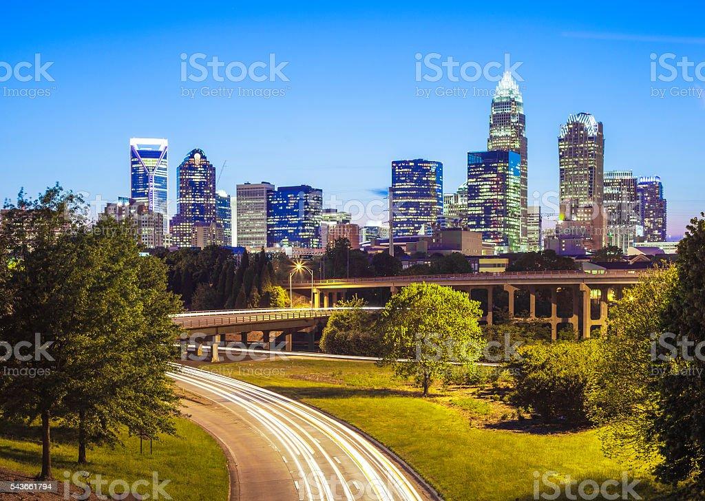 Downtown Charlotte, North Carolina At Night stock photo