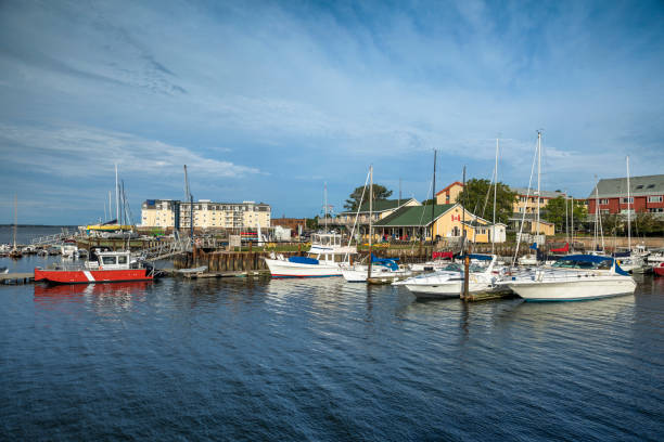 downtown charlottetown harbor marina pei canada - prince edward island stock photos and pictures