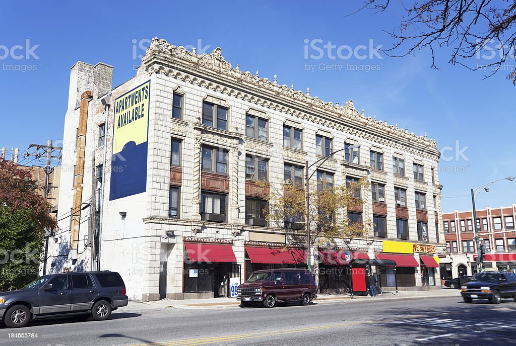 Downtown Chatham, Chicago. Ornate Commercial Building. royalty-free stock photo