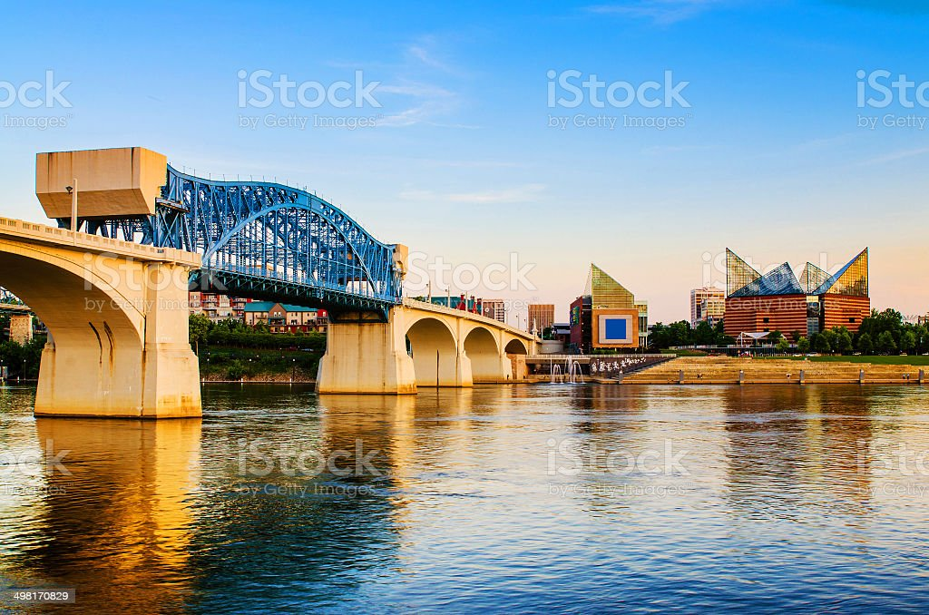 Downtown Chattanooga, Tennessee Downtown Chattanooga, Tennessee at dusk Aquarium Stock Photo