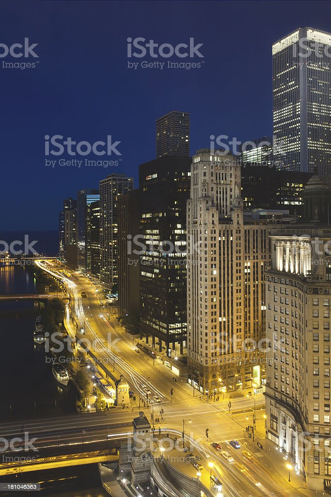 Downtown Chicago at Night royalty-free stock photo