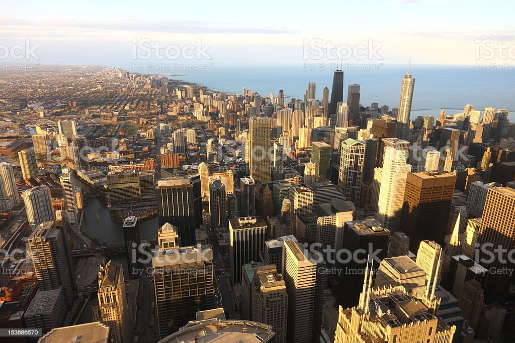 Downtown Chicago at sunset royalty-free stock photo