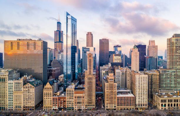 Downtown Chicago Cityscape From Grant Park Aerial View of Downtown Chicago chicago stock pictures, royalty-free photos & images