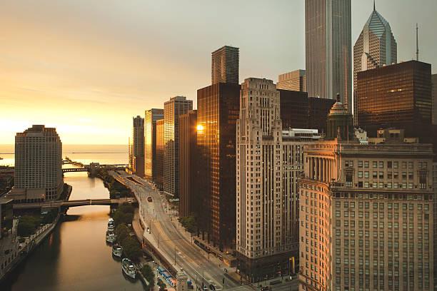 Downtown Chicago Dawn stock photo
