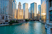 The city of Chicago & the Chicago River during sunset hours