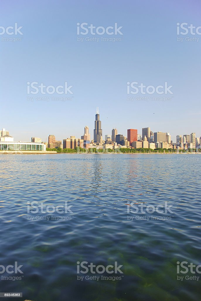 Downtown Chicago, early morning shot stock photo
