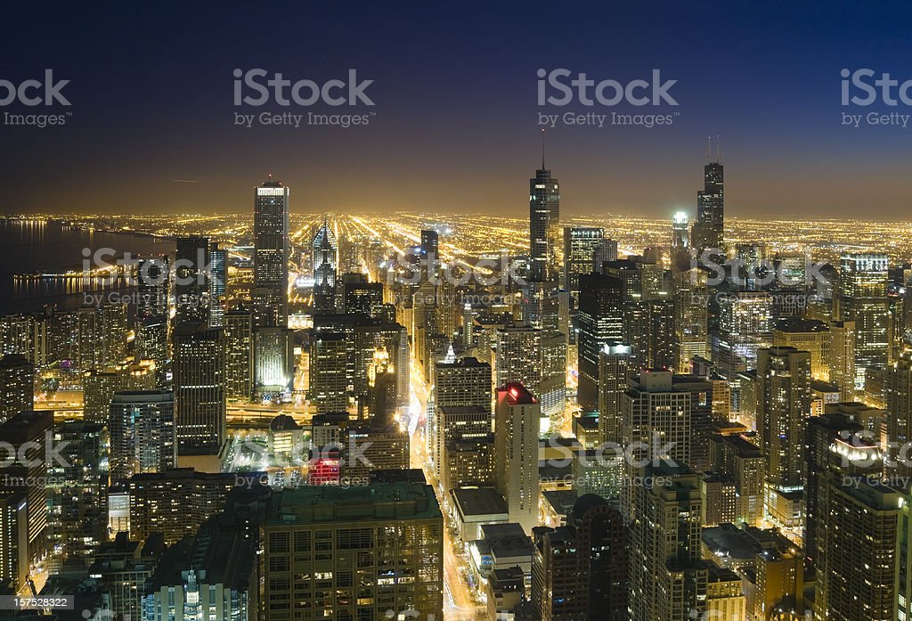 Downtown Chicago from Above at Dusk stock photo