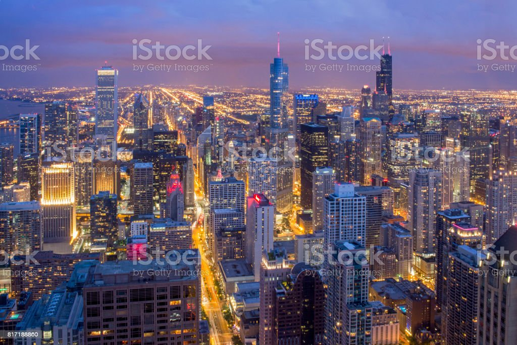 Downtown Chicago from John Hancock Tower stock photo