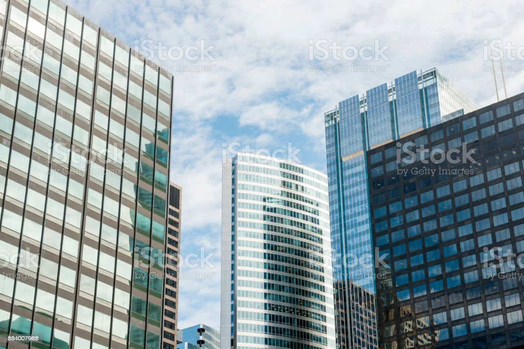 Downtown Chicago Office Building Architecture Exterior Business Backgrounds stock photo