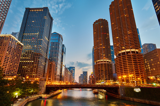 Downtown Chicago River at dusk