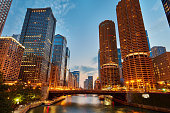 Downtown Chicago River at dusk.