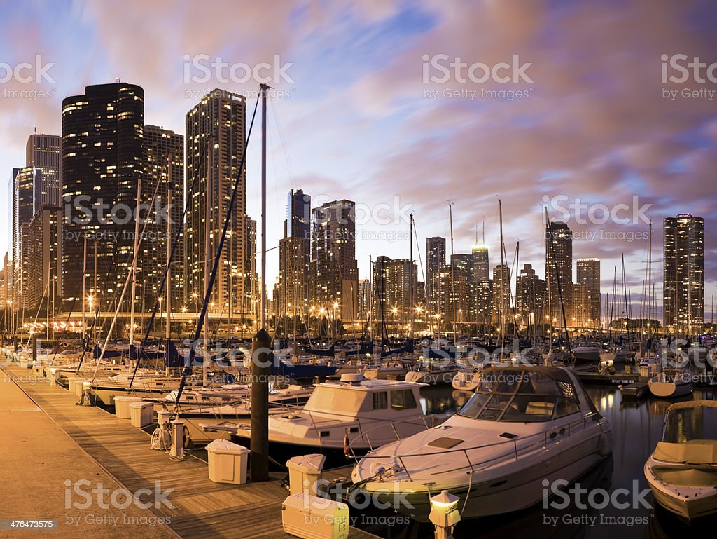 Downtown Chicago seen from marina stock photo