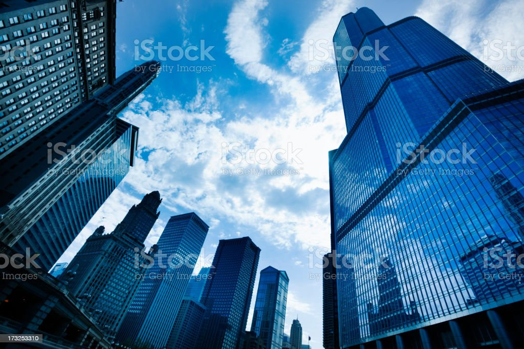 Downtown Chicago Skyline and Cityscape Hz stock photo