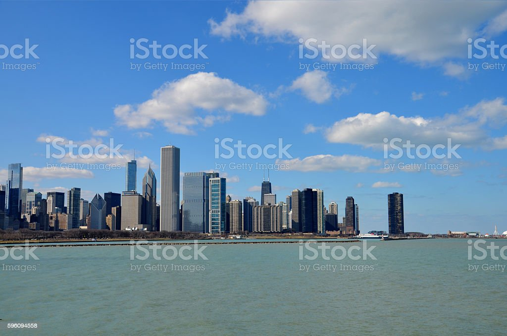 Downtown Chicago skyline view and the Lake Michigan shore royalty-free stock photo