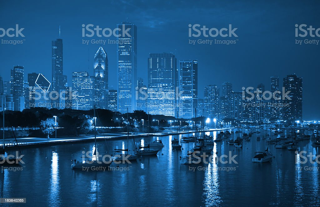 Downtown Chicago Skyline With Lake Michigan By Night Stock Photo Download Image Now Istock