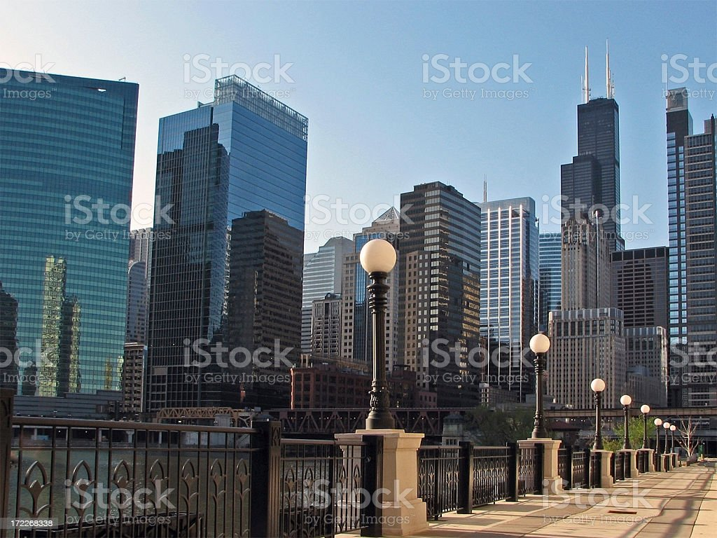 Downtown Chicago Skyscrapers Sears Tower Along River royalty-free stock photo