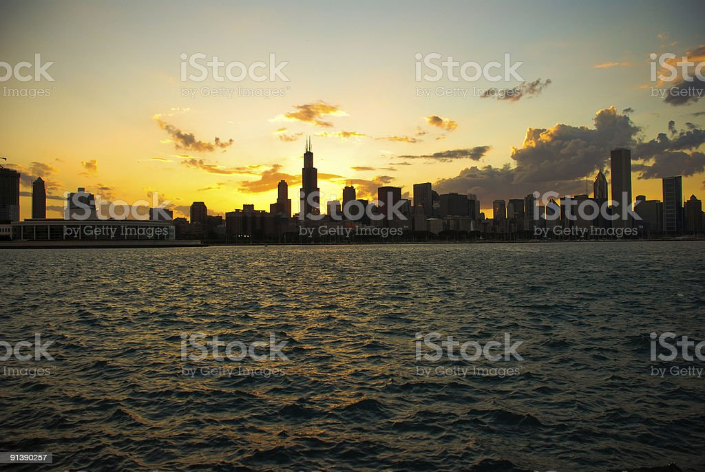 Downtown Chicago sunset stock photo