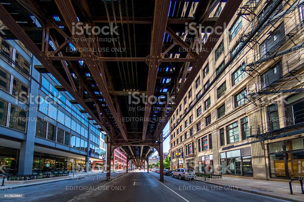 Downtown Chicago Train Line stock photo