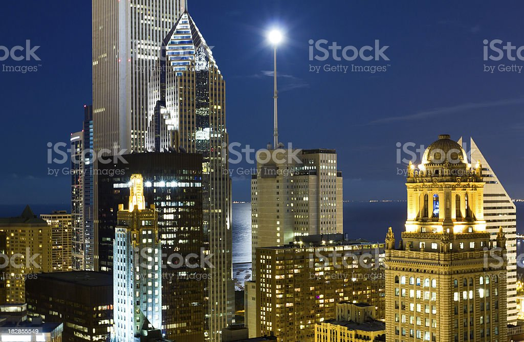 Downtown Chicago Under a Full Moon stock photo