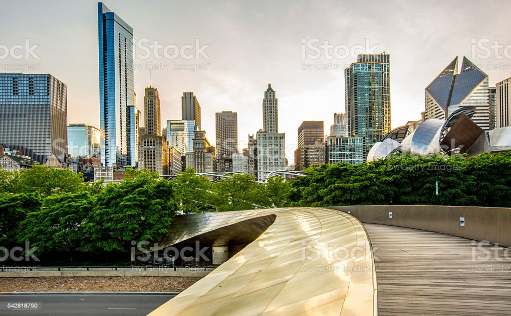 Downtown Chicago view from the Park stock photo