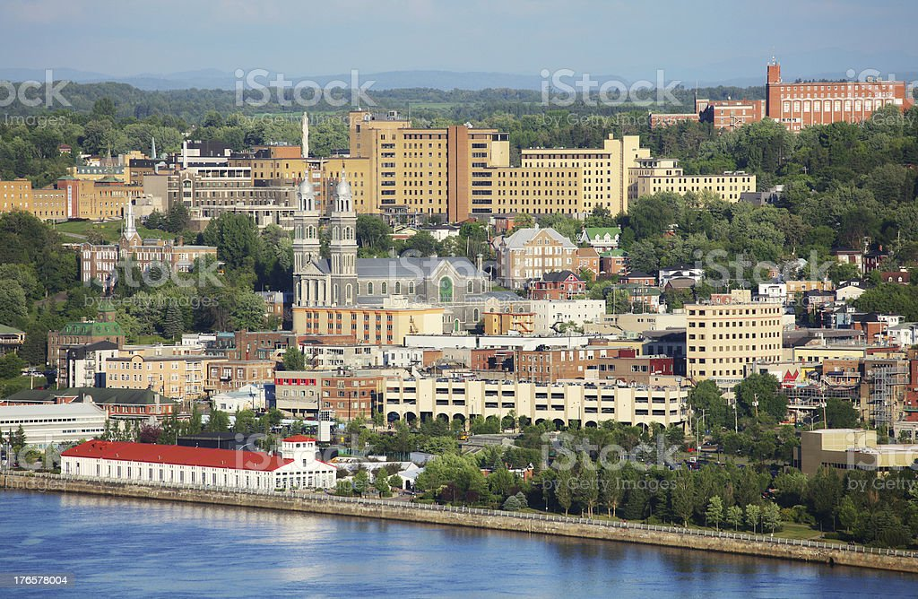 Downtown Chicoutimi City in Summer stock photo