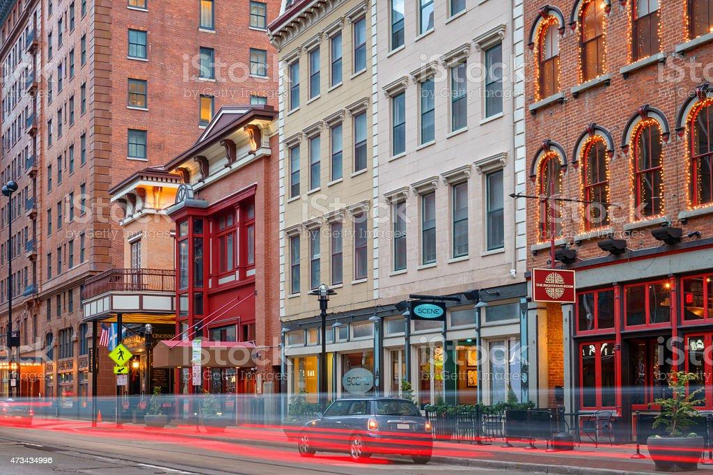 Downtown Cincinnati Ohio Colorful Pubs and Restaurants stock photo