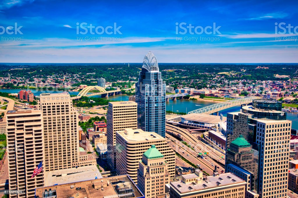 Downtown Cincinnati sits along the Ohio River waterfront, stock photo