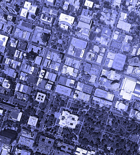 DownTown City Blue Crowded Aerial Above block streets stock photo