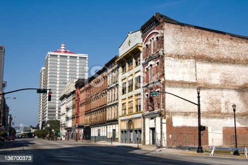 City buildings in old downtown commercial district, blighted urban area undergoing renewal, Louisville, Kentucky, KY, USA.