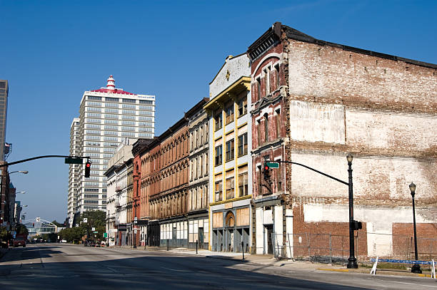 Downtown City Buildings, Old and Blighted Urban Area stock photo