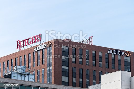 istock Downtown city in New Jersey with office building Rutgers University and audible Amazon 1148300593