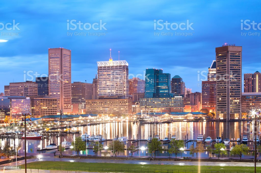 Downtown city skyline and Inner Harbor in Baltimore stock photo