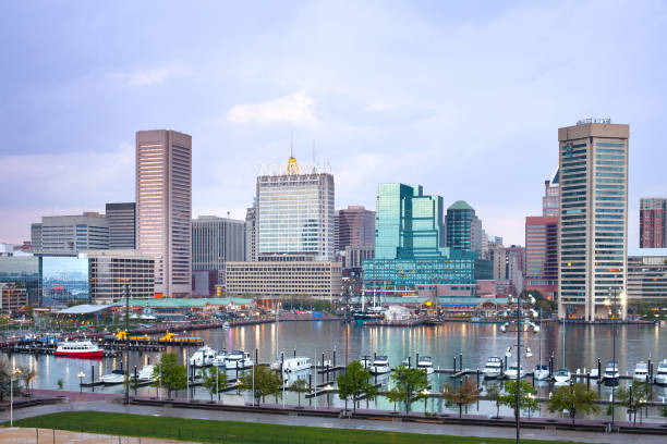 Downtown city skyline and Inner Harbor of Baltimore stock photo