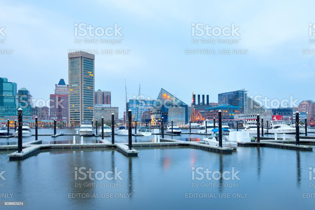 Downtown city skyline at the Inner Harbor in Baltimore stock photo