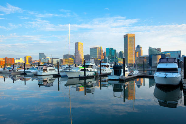 Downtown city skyline, Inner Harbor and marina in Baltimore Downtown city skyline, Inner Harbor and marina, Baltimore, Maryland, USA inner harbor baltimore stock pictures, royalty-free photos & images