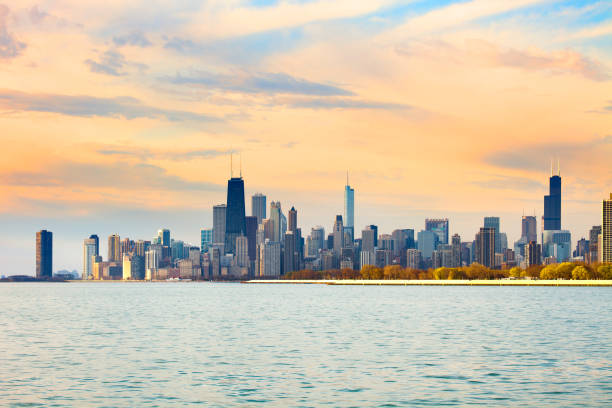 downtown city skyline of chicago at dawn - lake michigan stock pictures, royalty-free photos & images