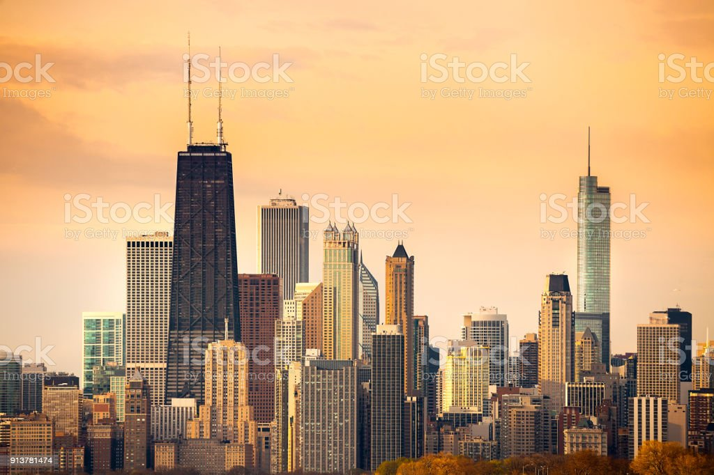 Downtown city skyline of Chicago stock photo
