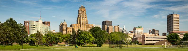 Historic panoramic buildings of downtown Buffalo New York USA