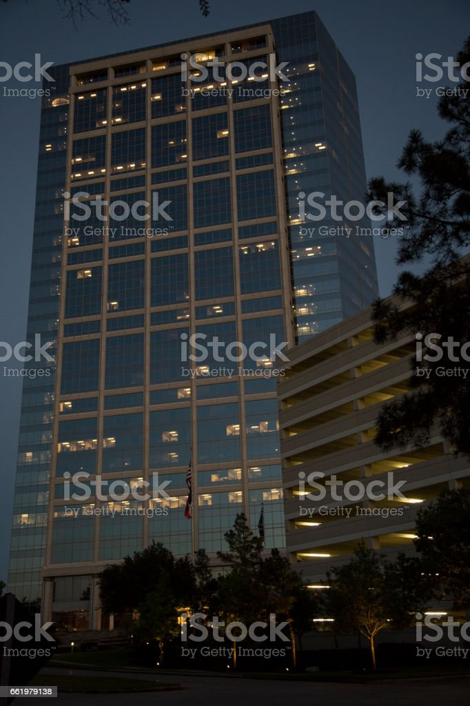 Downtown city skyscraper at night royalty-free stock photo
